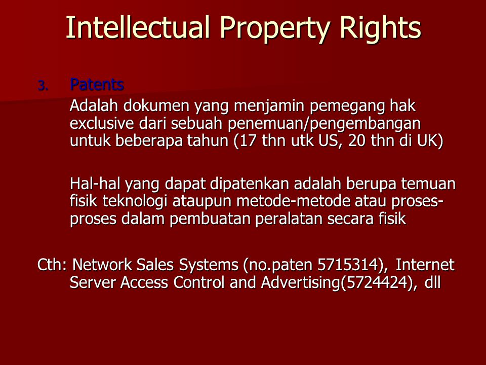 Intellectual Property Rights 3.