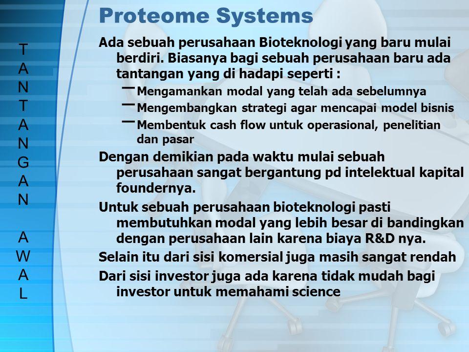 Proteome Systems Tujuan dari perusahaan ini adalah : to become a leading supplier of proteome technologies to biotechnology, pharmaceutical, and govenrment funded organizations around the world Perusahaan ini sendiri bergerak dengan menggunakan bahan mentah protein (proteome) yang di produksi menjadi sel, tissue, organ bahkan organisme.