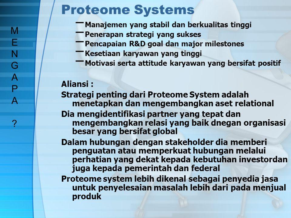 Tantangan Awal Proteome Systems aliansi solusi SAAT INI MENGAPA ?