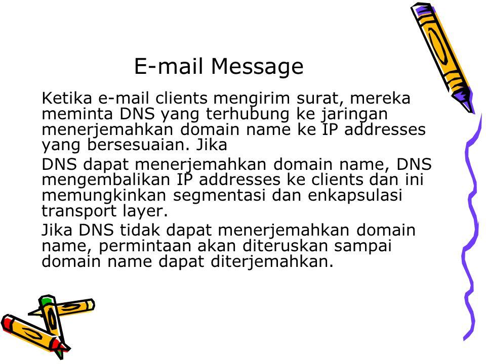 E-mail Message Ketika e-mail clients mengirim surat, mereka meminta DNS yang terhubung ke jaringan menerjemahkan domain name ke IP addresses yang bers