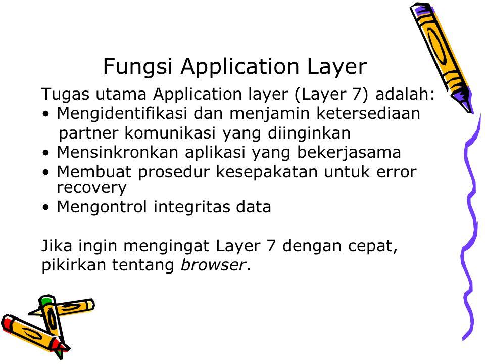 Fungsi Application Layer Tugas utama Application layer (Layer 7) adalah: Mengidentifikasi dan menjamin ketersediaan partner komunikasi yang diinginkan