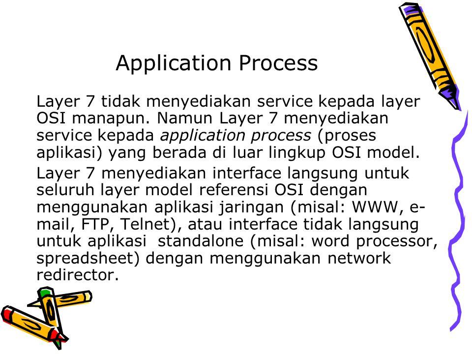 Application Process Layer 7 tidak menyediakan service kepada layer OSI manapun. Namun Layer 7 menyediakan service kepada application process (proses a