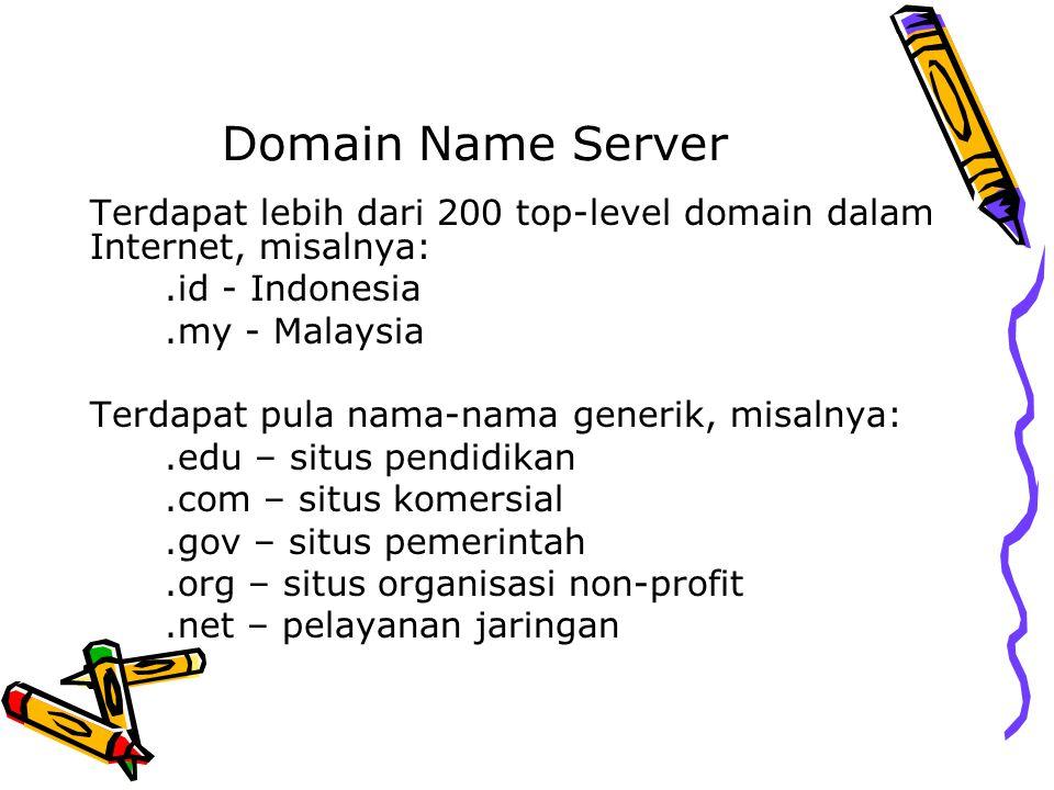 Domain Name Server Terdapat lebih dari 200 top-level domain dalam Internet, misalnya:.id - Indonesia.my - Malaysia Terdapat pula nama-nama generik, mi