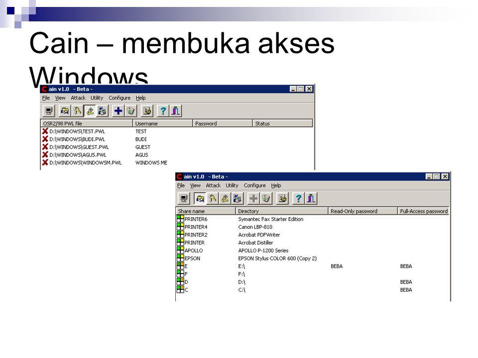 Cain – membuka akses Windows