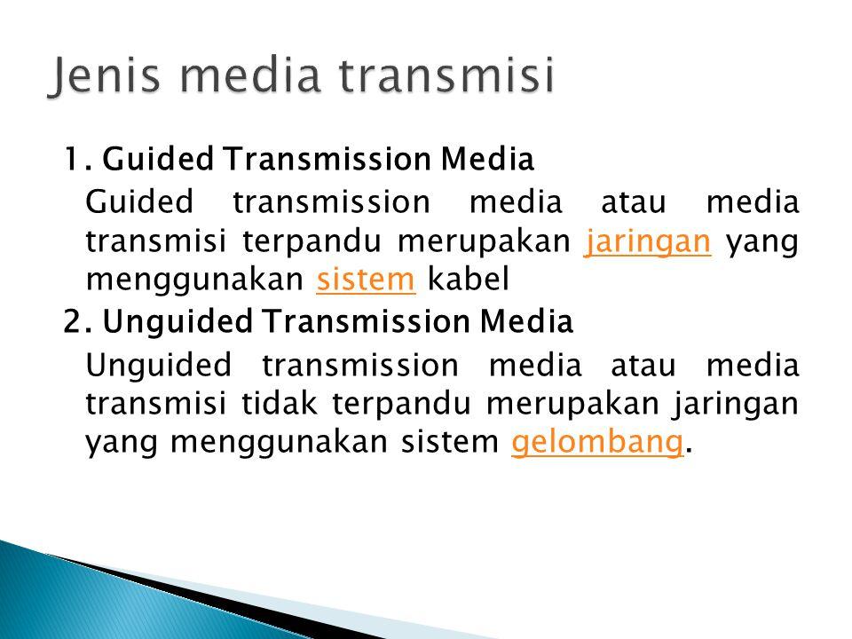 1. Guided Transmission Media Guided transmission media atau media transmisi terpandu merupakan jaringan yang menggunakan sistem kabeljaringansistem 2.