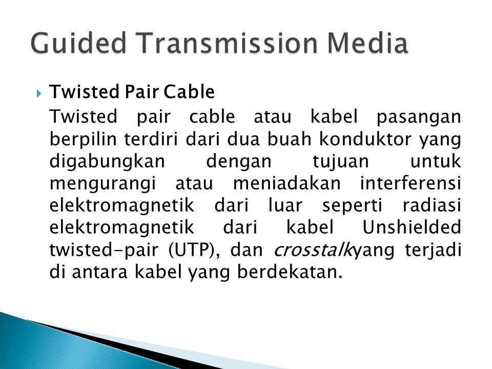  Twisted Pair Cable Twisted pair cable atau kabel pasangan berpilin terdiri dari dua buah konduktor yang digabungkan dengan tujuan untuk mengurangi atau meniadakan interferensi elektromagnetik dari luar seperti radiasi elektromagnetik dari kabel Unshielded twisted-pair (UTP), dan crosstalkyang terjadi di antara kabel yang berdekatan.