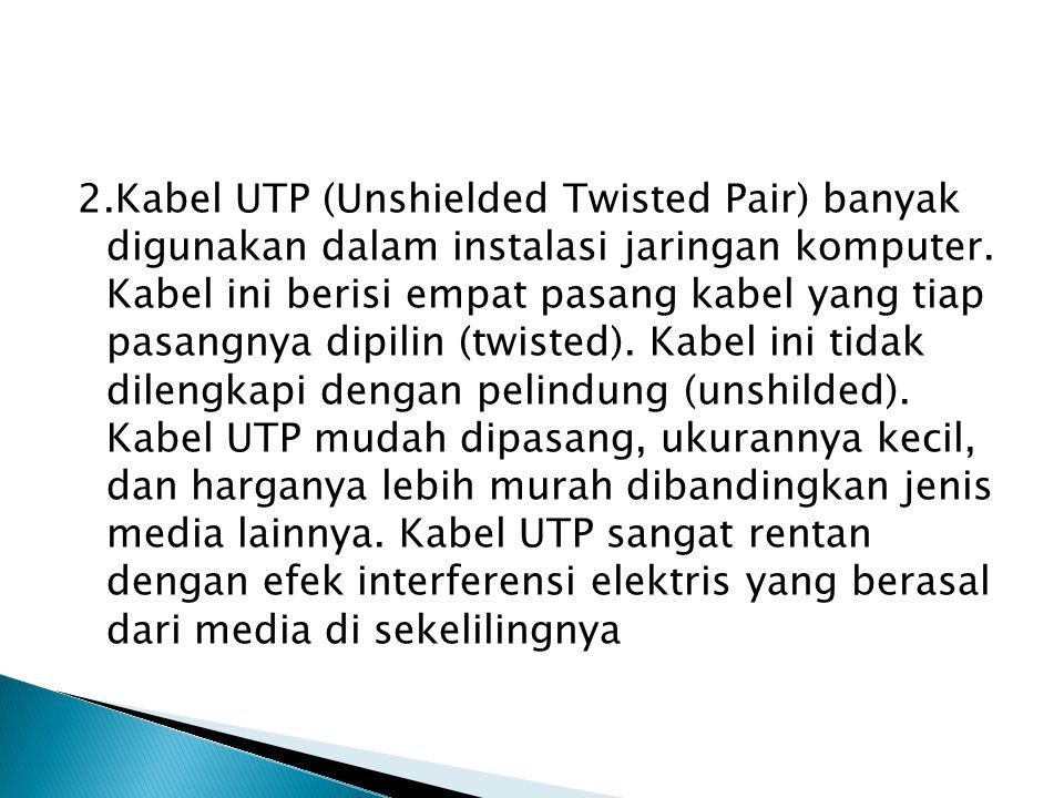 2.Kabel UTP (Unshielded Twisted Pair) banyak digunakan dalam instalasi jaringan komputer. Kabel ini berisi empat pasang kabel yang tiap pasangnya dipi