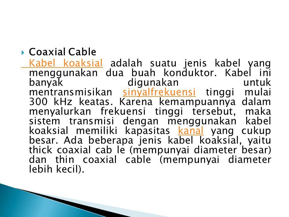  Coaxial Cable Kabel koaksialKabel koaksial adalah suatu jenis kabel yang menggunakan dua buah konduktor. Kabel ini banyak digunakan untuk mentransmi