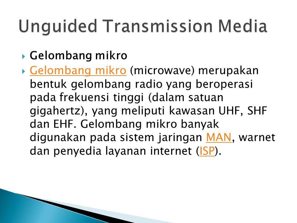  Gelombang mikro  Gelombang mikro (microwave) merupakan bentuk gelombang radio yang beroperasi pada frekuensi tinggi (dalam satuan gigahertz), yang meliputi kawasan UHF, SHF dan EHF.