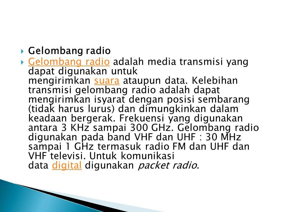 Gelombang radio  Gelombang radio adalah media transmisi yang dapat digunakan untuk mengirimkan suara ataupun data. Kelebihan transmisi gelombang ra