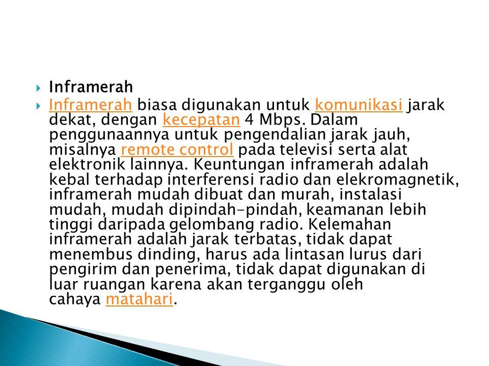  Inframerah  Inframerah biasa digunakan untuk komunikasi jarak dekat, dengan kecepatan 4 Mbps.