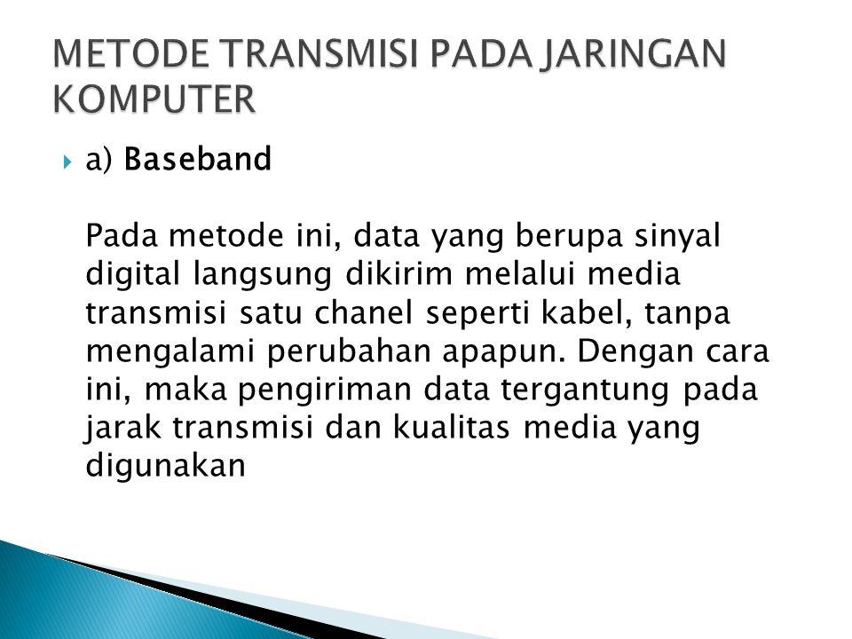  a) Baseband Pada metode ini, data yang berupa sinyal digital langsung dikirim melalui media transmisi satu chanel seperti kabel, tanpa mengalami perubahan apapun.