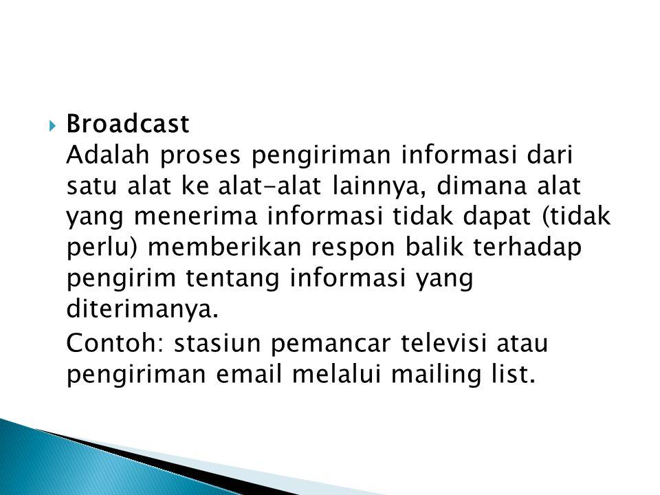  Broadcast Adalah proses pengiriman informasi dari satu alat ke alat-alat lainnya, dimana alat yang menerima informasi tidak dapat (tidak perlu) memb
