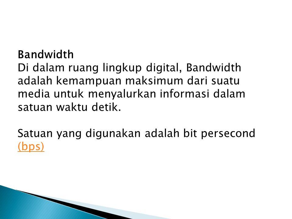 Bandwidth Di dalam ruang lingkup digital, Bandwidth adalah kemampuan maksimum dari suatu media untuk menyalurkan informasi dalam satuan waktu detik. S