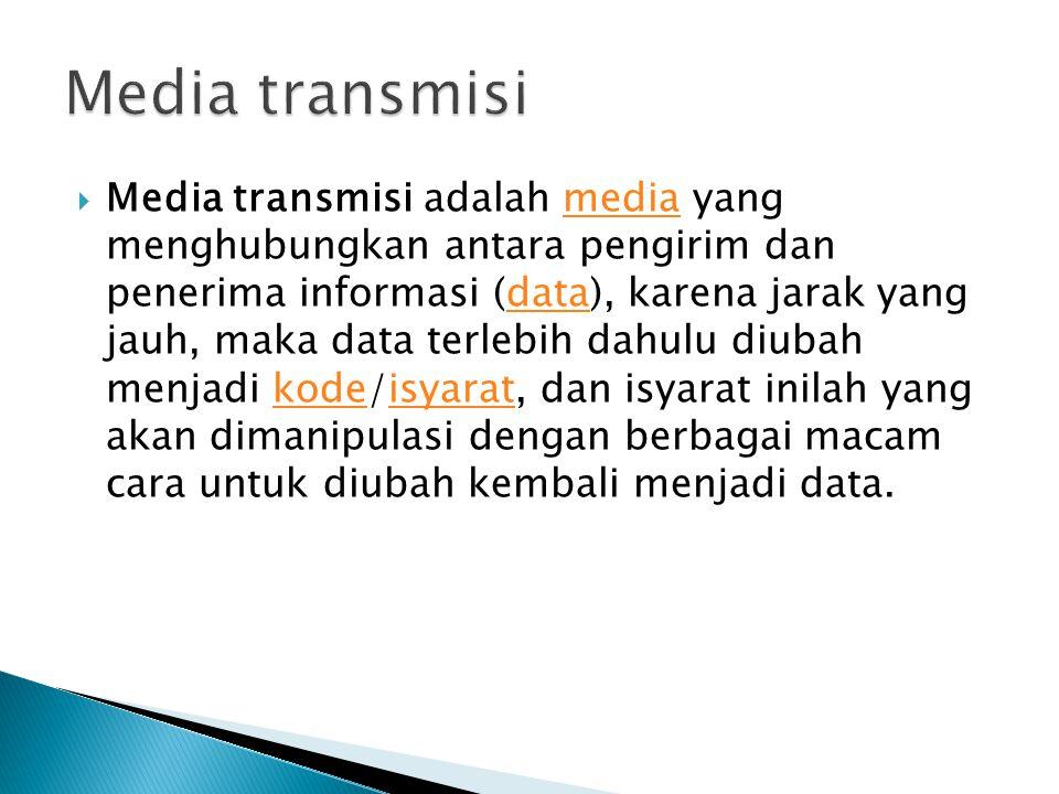  Media transmisi adalah media yang menghubungkan antara pengirim dan penerima informasi (data), karena jarak yang jauh, maka data terlebih dahulu diubah menjadi kode/isyarat, dan isyarat inilah yang akan dimanipulasi dengan berbagai macam cara untuk diubah kembali menjadi data.mediadatakodeisyarat