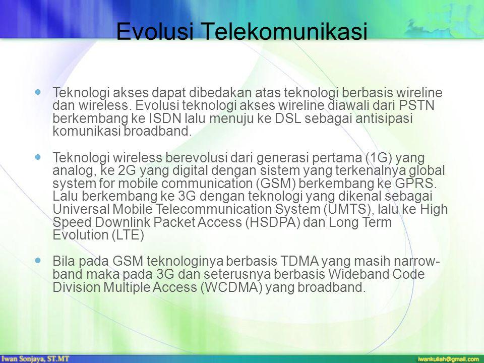 Evolusi Telekomunikasi Teknologi akses dapat dibedakan atas teknologi berbasis wireline dan wireless. Evolusi teknologi akses wireline diawali dari PS