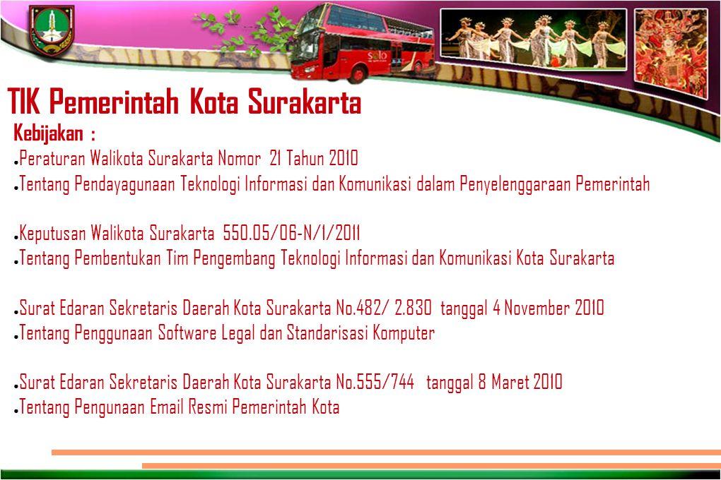 TIK Pemerintah Kota Surakarta Kebijakan : ● Peraturan Walikota Surakarta Nomor 21 Tahun 2010 ● Tentang Pendayagunaan Teknologi Informasi dan Komunikas