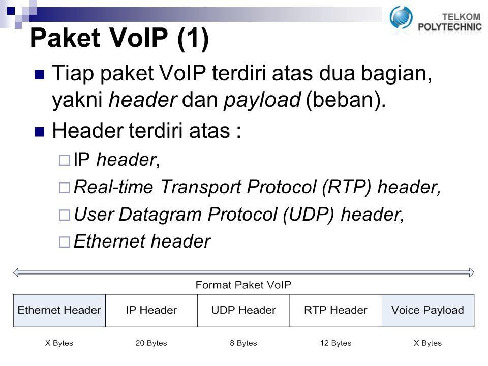 Paket VoIP (1) Tiap paket VoIP terdiri atas dua bagian, yakni header dan payload (beban).