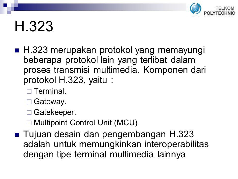 H.323 merupakan protokol yang memayungi beberapa protokol lain yang terlibat dalam proses transmisi multimedia.