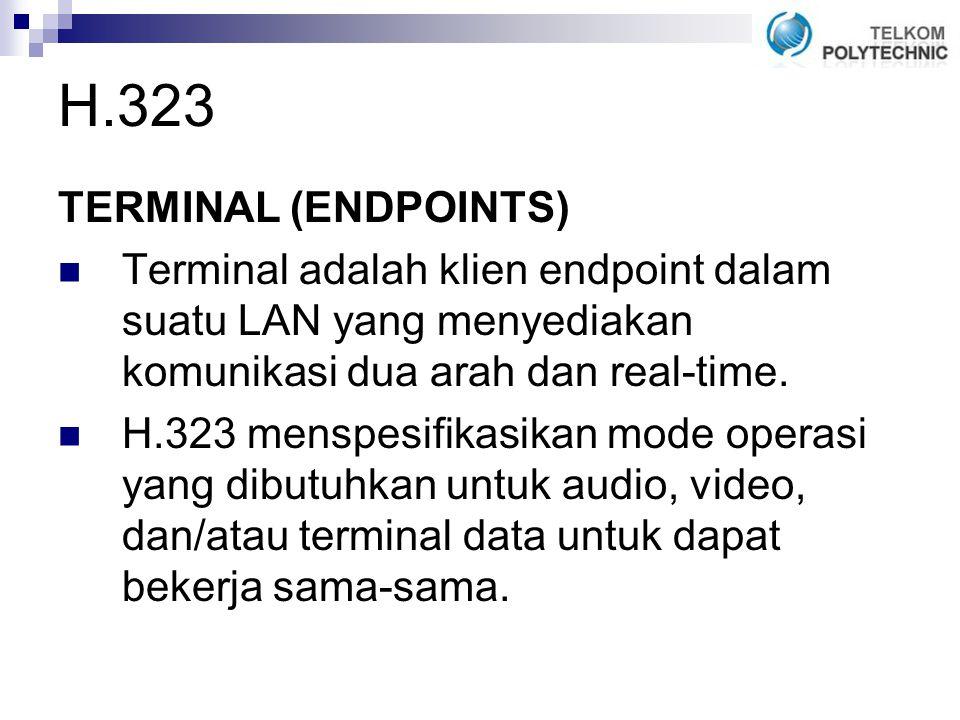 H.323 TERMINAL (ENDPOINTS) Terminal adalah klien endpoint dalam suatu LAN yang menyediakan komunikasi dua arah dan real-time.