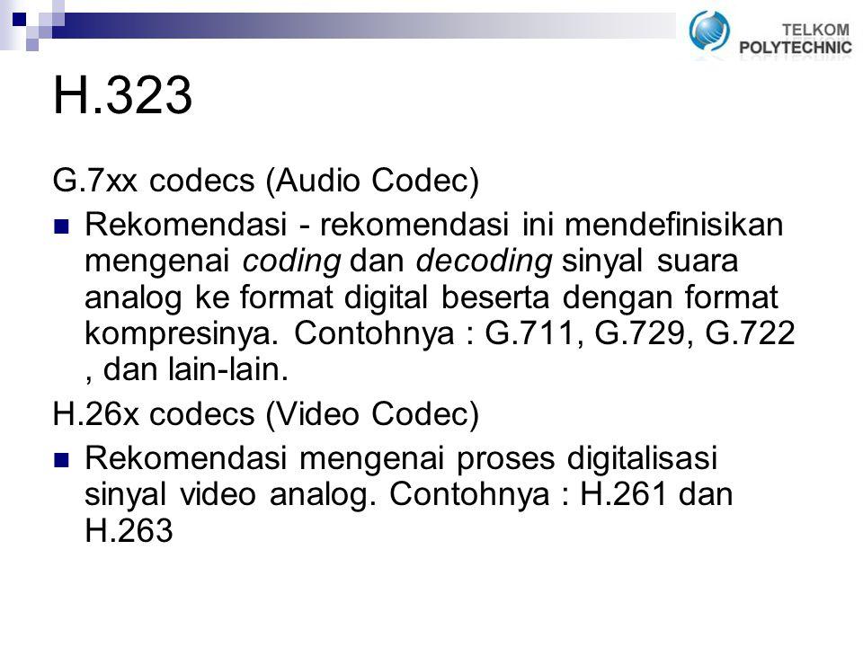 H.323 G.7xx codecs (Audio Codec) Rekomendasi - rekomendasi ini mendefinisikan mengenai coding dan decoding sinyal suara analog ke format digital beserta dengan format kompresinya.