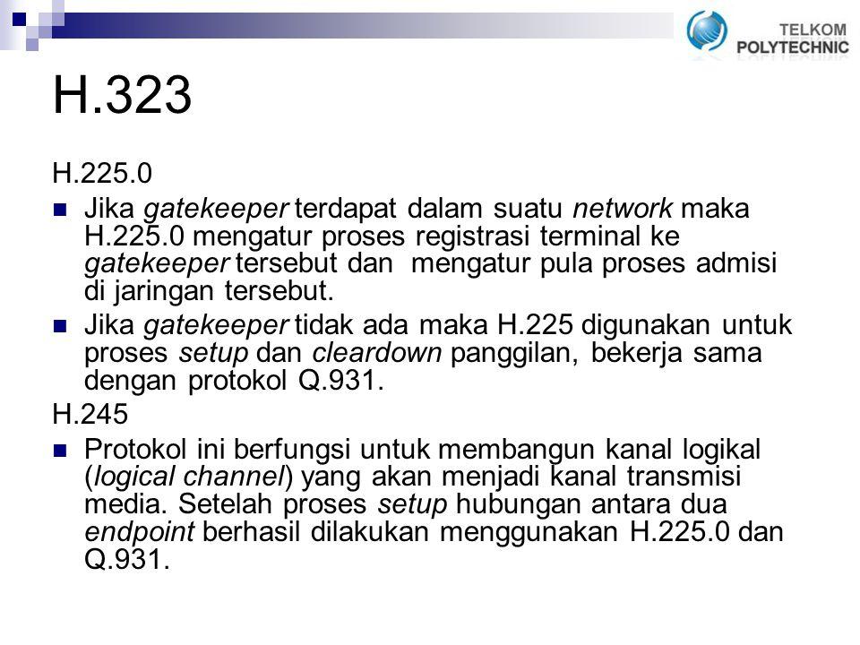 H.323 H.225.0 Jika gatekeeper terdapat dalam suatu network maka H.225.0 mengatur proses registrasi terminal ke gatekeeper tersebut dan mengatur pula proses admisi di jaringan tersebut.