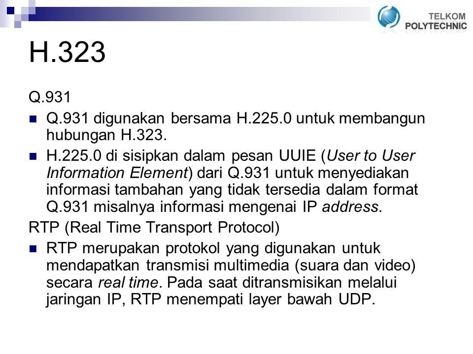 H.323 Q.931 Q.931 digunakan bersama H.225.0 untuk membangun hubungan H.323.