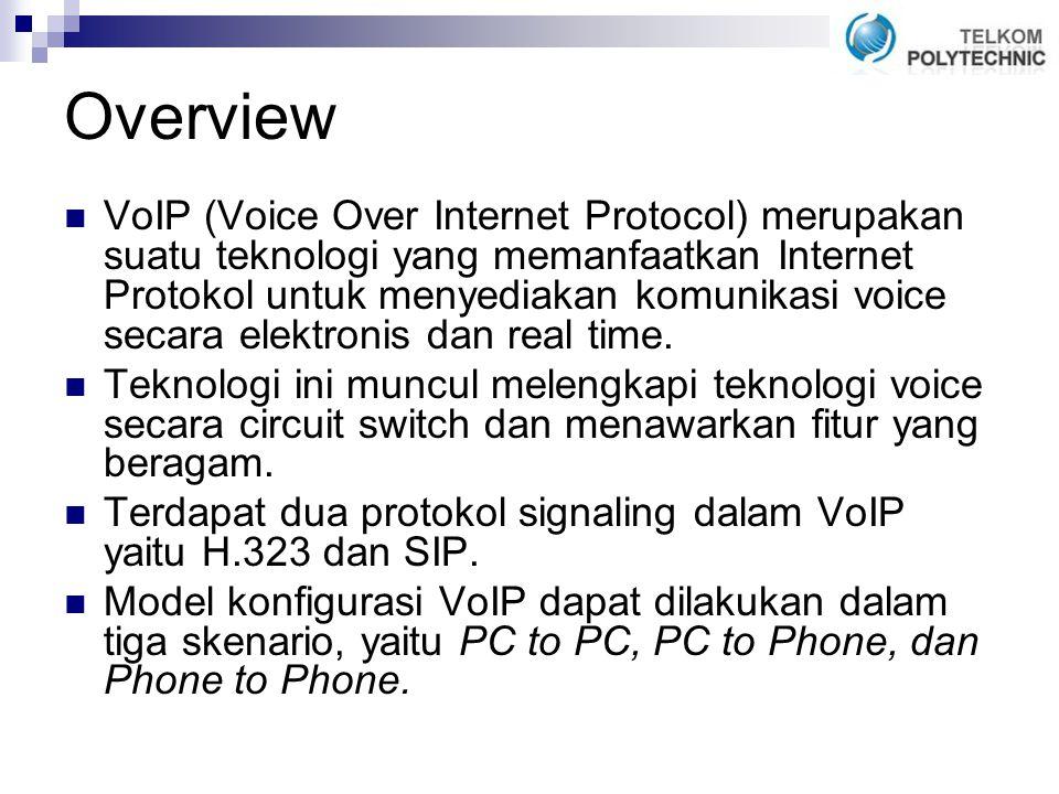 Overview VoIP (Voice Over Internet Protocol) merupakan suatu teknologi yang memanfaatkan Internet Protokol untuk menyediakan komunikasi voice secara elektronis dan real time.