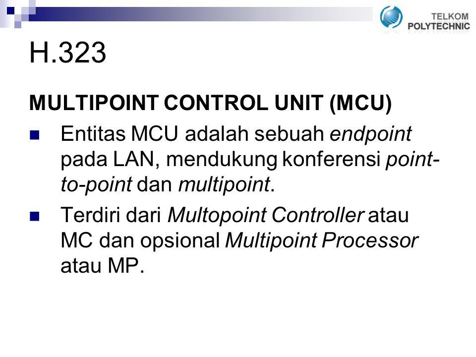 MULTIPOINT CONTROL UNIT (MCU) Entitas MCU adalah sebuah endpoint pada LAN, mendukung konferensi point- to-point dan multipoint.