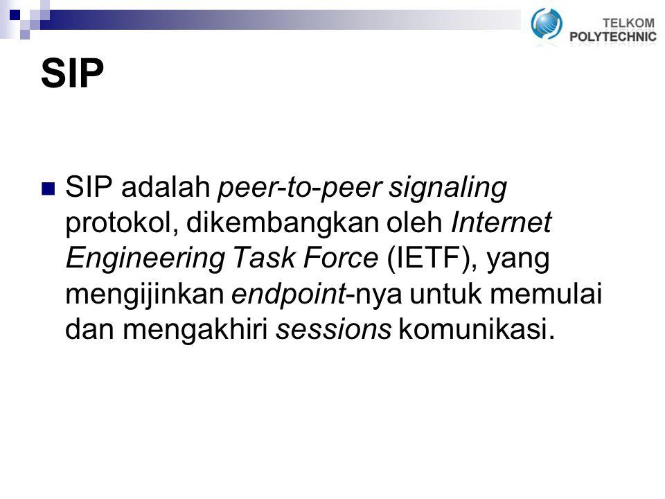 SIP SIP adalah peer-to-peer signaling protokol, dikembangkan oleh Internet Engineering Task Force (IETF), yang mengijinkan endpoint-nya untuk memulai dan mengakhiri sessions komunikasi.