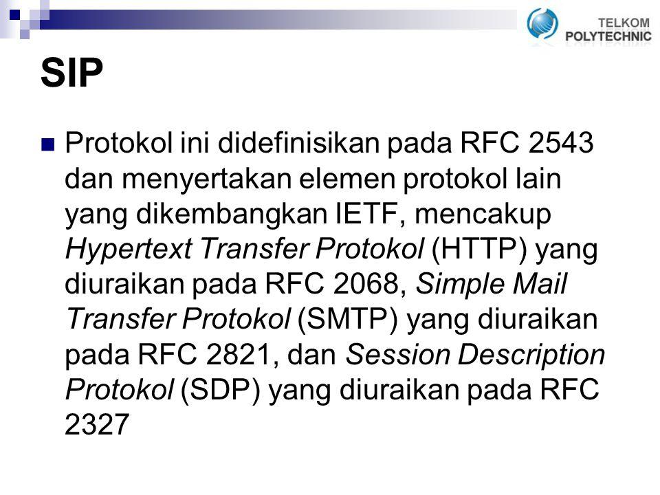 SIP Protokol ini didefinisikan pada RFC 2543 dan menyertakan elemen protokol lain yang dikembangkan IETF, mencakup Hypertext Transfer Protokol (HTTP) yang diuraikan pada RFC 2068, Simple Mail Transfer Protokol (SMTP) yang diuraikan pada RFC 2821, dan Session Description Protokol (SDP) yang diuraikan pada RFC 2327