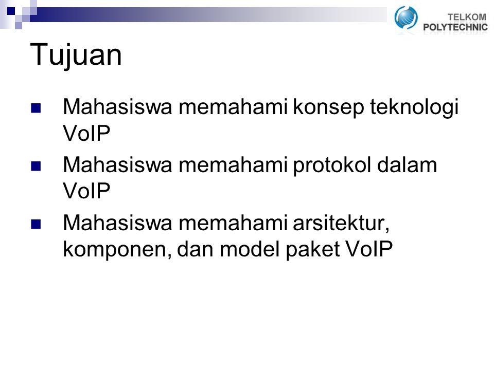 Tujuan Mahasiswa memahami konsep teknologi VoIP Mahasiswa memahami protokol dalam VoIP Mahasiswa memahami arsitektur, komponen, dan model paket VoIP
