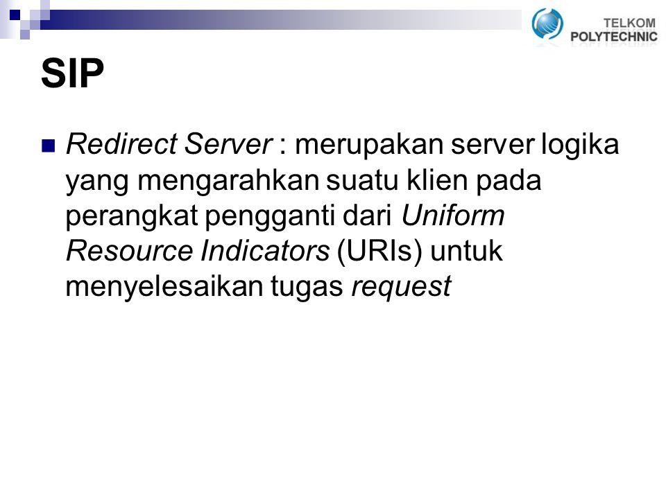 SIP Redirect Server : merupakan server logika yang mengarahkan suatu klien pada perangkat pengganti dari Uniform Resource Indicators (URIs) untuk menyelesaikan tugas request