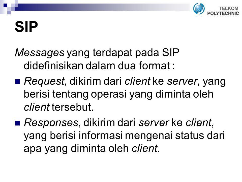 SIP Messages yang terdapat pada SIP didefinisikan dalam dua format : Request, dikirim dari client ke server, yang berisi tentang operasi yang diminta oleh client tersebut.