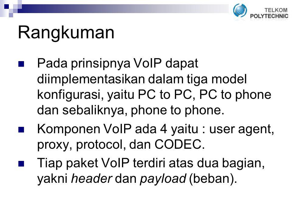Rangkuman Pada prinsipnya VoIP dapat diimplementasikan dalam tiga model konfigurasi, yaitu PC to PC, PC to phone dan sebaliknya, phone to phone.