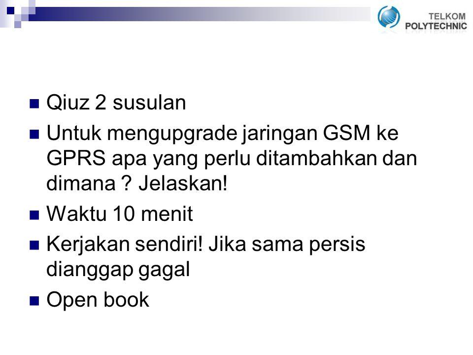 Qiuz 2 susulan Untuk mengupgrade jaringan GSM ke GPRS apa yang perlu ditambahkan dan dimana .