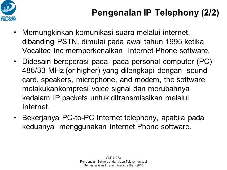 SM341073 Pengenalan Teknologi dan Jasa Telekomunikasi Semester Ganjil Tahun Ajaran 2009 - 2010 Pengenalan IP Telephony (1/2) Voice over Data adalah teknik pengiriman layanan teleponi (suara) melalui jaringan data.
