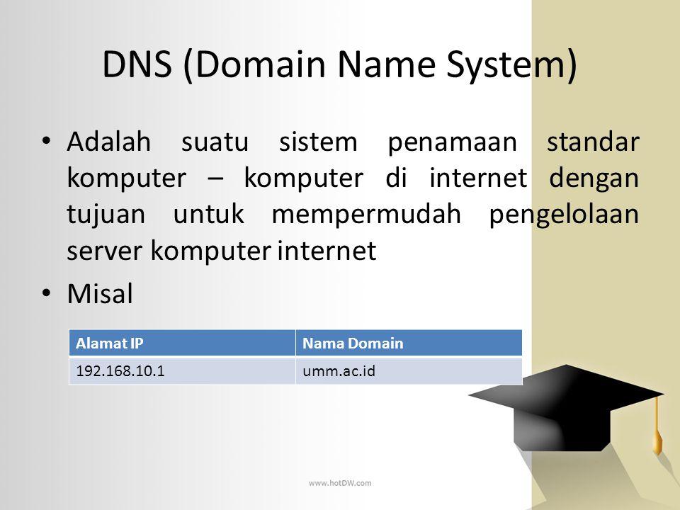 DNS (Domain Name System) Adalah suatu sistem penamaan standar komputer – komputer di internet dengan tujuan untuk mempermudah pengelolaan server kompu