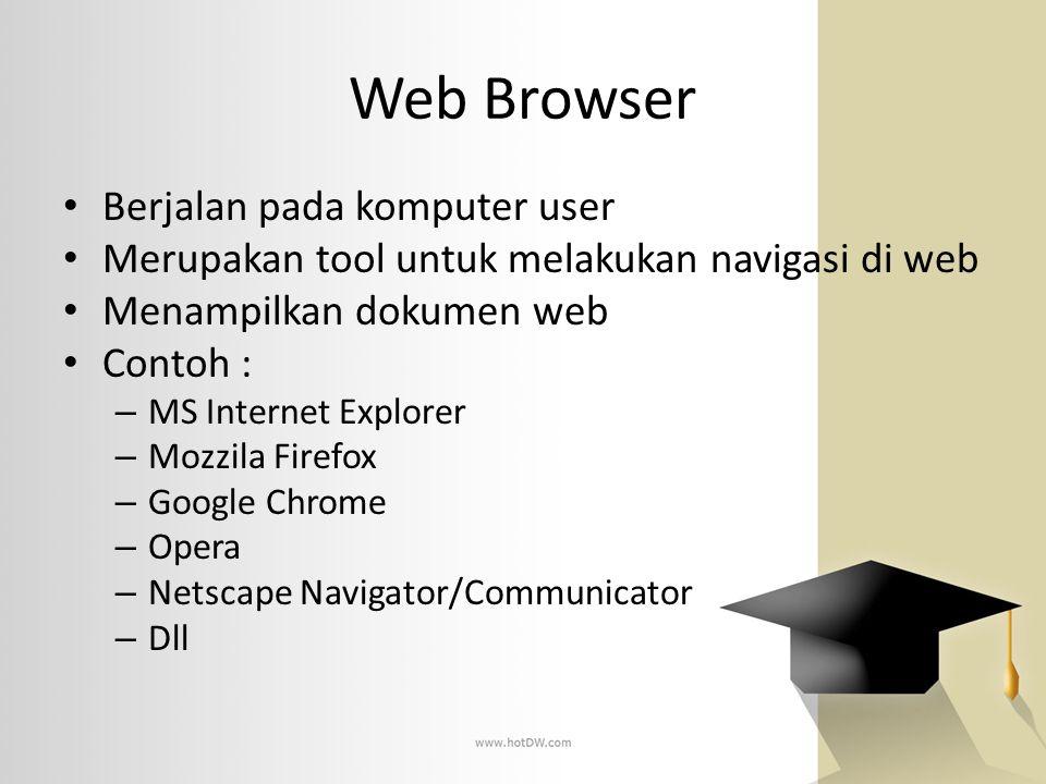 Web Browser Berjalan pada komputer user Merupakan tool untuk melakukan navigasi di web Menampilkan dokumen web Contoh : – MS Internet Explorer – Mozzi