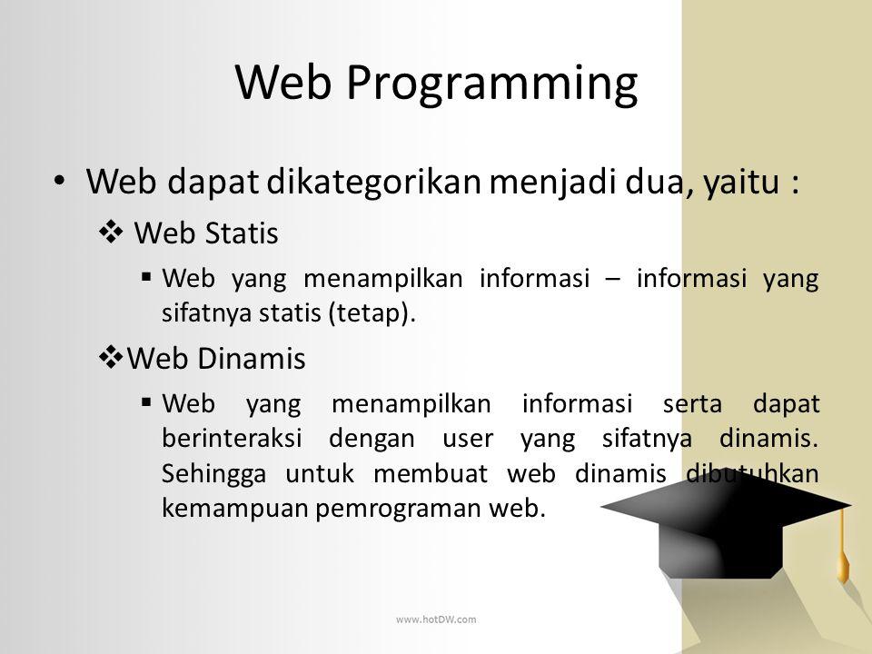 Web Programming Web dapat dikategorikan menjadi dua, yaitu :  Web Statis  Web yang menampilkan informasi – informasi yang sifatnya statis (tetap). 
