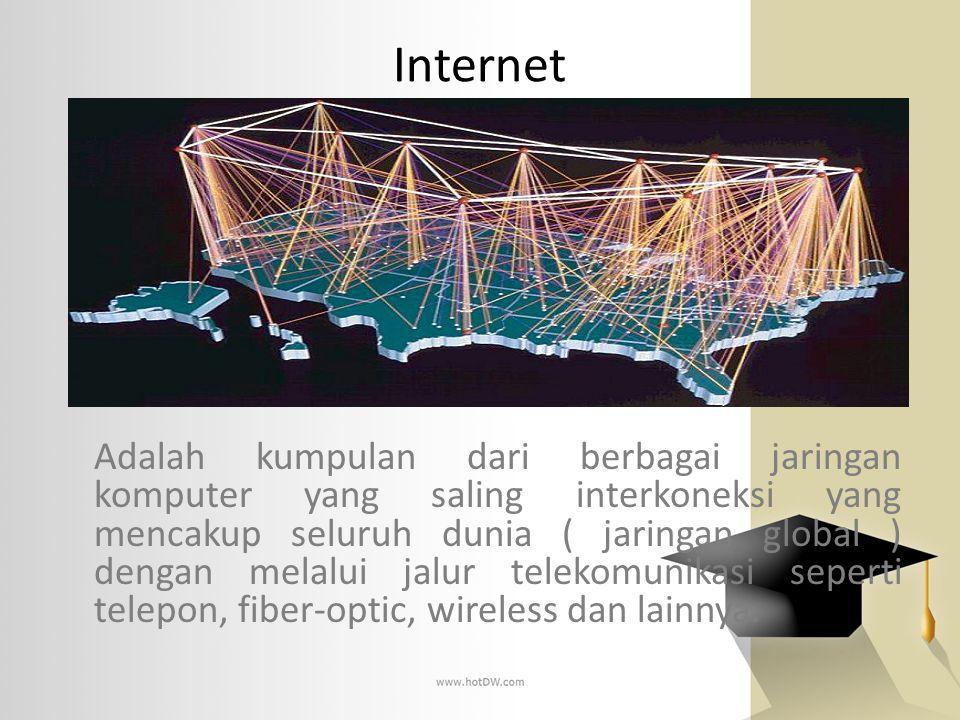 Internet Adalah kumpulan dari berbagai jaringan komputer yang saling interkoneksi yang mencakup seluruh dunia ( jaringan global ) dengan melalui jalur
