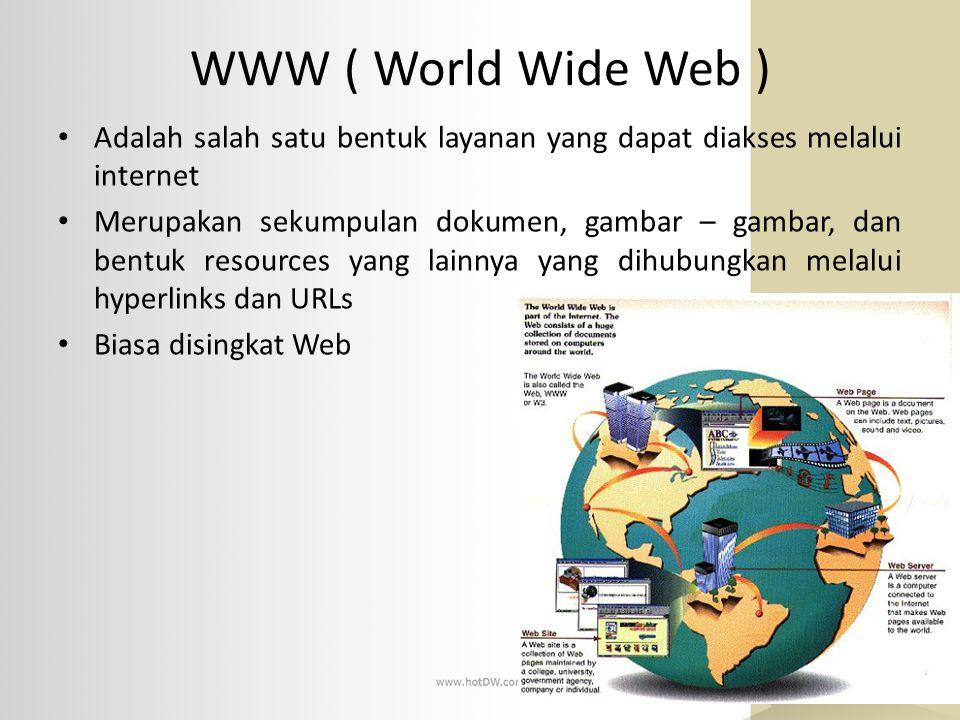 WWW ( World Wide Web ) Adalah salah satu bentuk layanan yang dapat diakses melalui internet Merupakan sekumpulan dokumen, gambar – gambar, dan bentuk