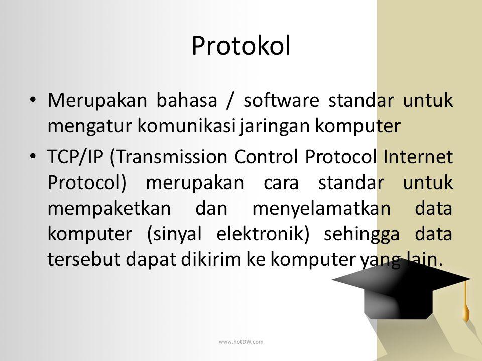 Protokol Merupakan bahasa / software standar untuk mengatur komunikasi jaringan komputer TCP/IP (Transmission Control Protocol Internet Protocol) meru