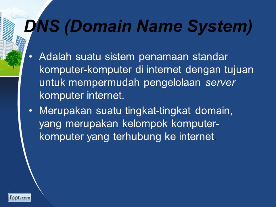 DNS (Domain Name System) Adalah suatu sistem penamaan standar komputer-komputer di internet dengan tujuan untuk mempermudah pengelolaan server kompute