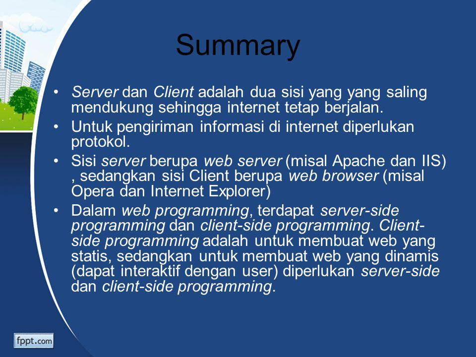 Summary Server dan Client adalah dua sisi yang yang saling mendukung sehingga internet tetap berjalan. Untuk pengiriman informasi di internet diperluk