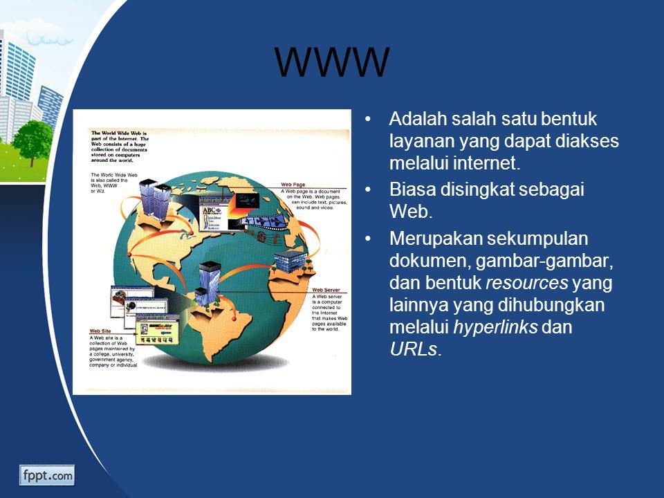 WWW Adalah salah satu bentuk layanan yang dapat diakses melalui internet. Biasa disingkat sebagai Web. Merupakan sekumpulan dokumen, gambar-gambar, da