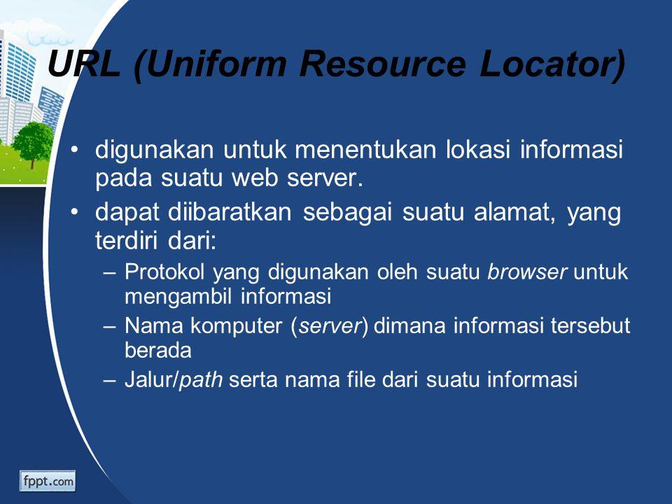 URL (Uniform Resource Locator) digunakan untuk menentukan lokasi informasi pada suatu web server. dapat diibaratkan sebagai suatu alamat, yang terdiri