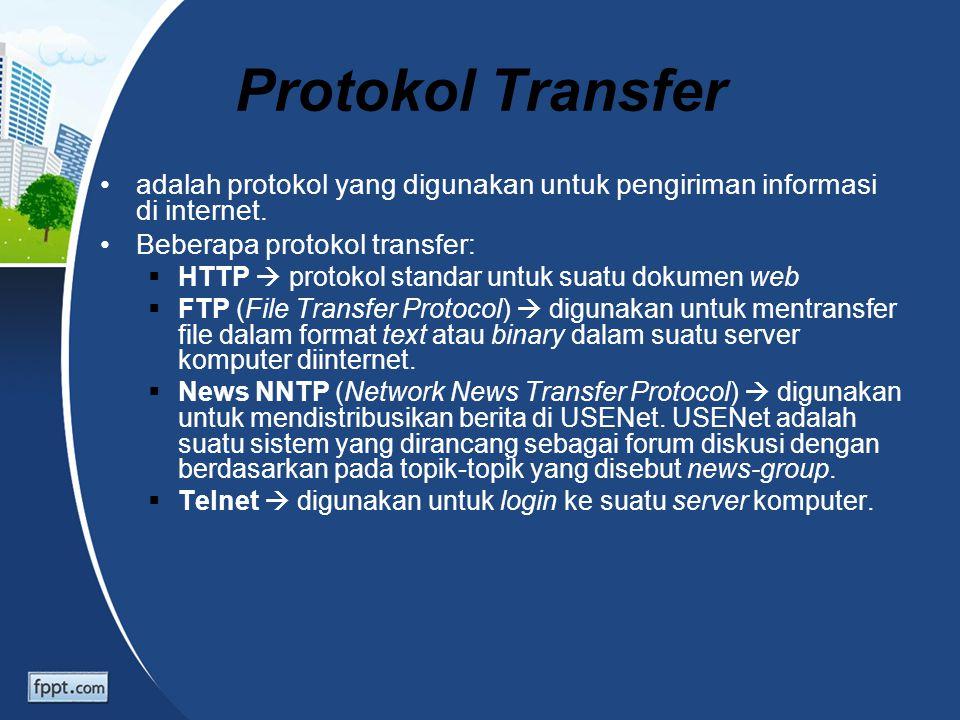 Protokol Transfer adalah protokol yang digunakan untuk pengiriman informasi di internet. Beberapa protokol transfer:  HTTP  protokol standar untuk s