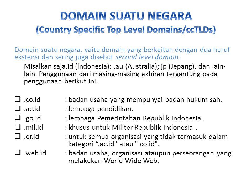 Domain suatu negara, yaitu domain yang berkaitan dengan dua huruf ekstensi dan sering juga disebut second level domain.