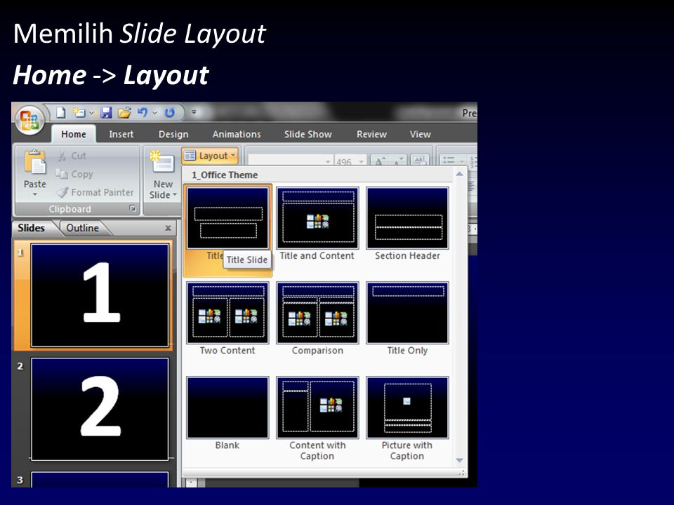 Memilih Slide Layout Home -> Layout